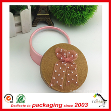 Elegant pink round base box with eva insert jewelry packaging custom paper tube with lid wholesale