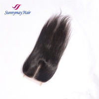 7A Free Shipping Brazilian Virgin 100% Human Hair Closures Straight hair Lace Closure 4*4 Middle Part Bleached Knots