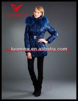 2014 Latest Real Fur High Quality Winter Shiny Fashion wholesaler lady dress