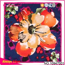 Quality Polyester Satin Floral Square Scarf