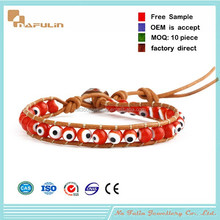 [Nafulin]Wholesale European style leather wrap bracelets,rhinestone evil eye bracelet