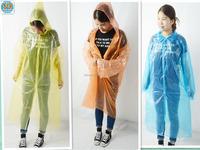 Disposable plastic raincoats orange/plastic raincoat women/adult plastic raincoats