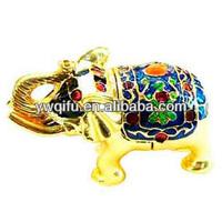 Colorful hot metal elephant enamel handmade box trinket pewter gift box item decoration indian(QF109)