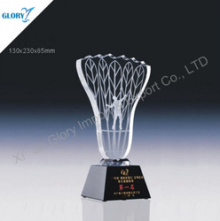 China Crystal Trophies Crystal Awards For Badminton