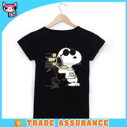 Dog printing black girl t shirt