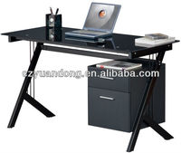 glass desktop office desk with computer , computer stand