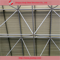Prefab building construction of steel grid structure roofing