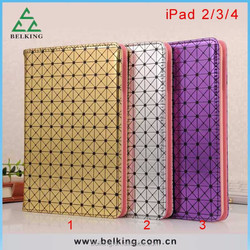 Bling Diomand pattern leather case cover for ipad 2 3 4