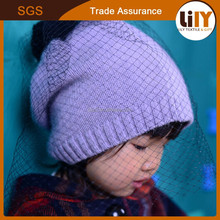 Custom Design Wholesale Cotton Knitted Winter Children Hats with Pom