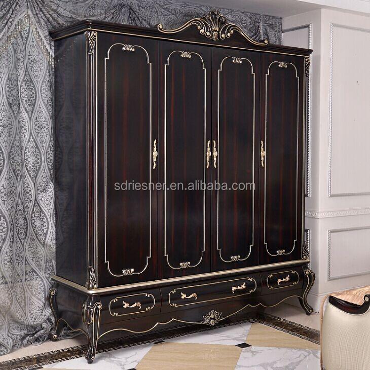 classical solid wood carved villa furniture bedroom set