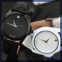 Hot selling new design quartz stainless steel back watch simple design cheap wholesale black leather unisex geneva brand watch