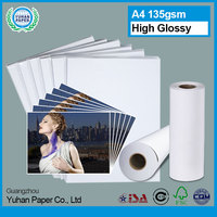 new arrival manufacturer of wholesale 135g A4 sizes or rolls waterproof smooth glossy inkjet photo paper with good price