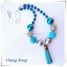 blue and hot pink Tassel pendant Chunky Necklace Kids pearl blue and hot pink Beaded Necklace With tassel Pendant