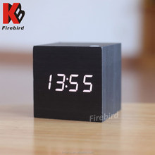 promotional wooden blue digital led wall clocks with calendar and temperature