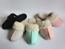2015 fashion faux fur collar girls fleece slippers indoor beautiful warm indoor slippers with bowknot