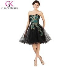 Grace Karin Newest Design Strapless Tulle Ball Short Peacock Cocktail Dress 2015 CL007541-1