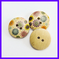 2 holes laser flower design painting wooden button