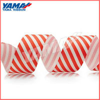 Simple design party decoration printed red white stripe ribbon