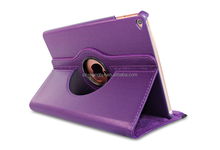 Purple rotating leather case for ipad air 2,360 rotating standing leather case( Lychee grain) with sleeping function HH-IP605-42