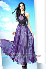 DORISQUEEN In Stock Hot Sale A Line Floor Length Halter Open Back Lilac Evening Dress