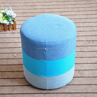Old canvas fabric home bench storage ottoman stool