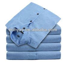 los hombres de cuello chino camisas de lino hilado teñido
