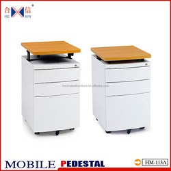 New style 3 drawer movable drawer cabinet with adjustable wooden top