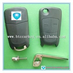 High quality leather car key case for 3 Button Silca: HU100 flip car remote key opel key chain