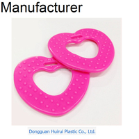 Food grade chewing teether/heart shape safety teether toy/top quality plastic baby teether toy