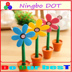 2015 wholesale polymer clay flower potted shaped design ballpoint pen logo printed