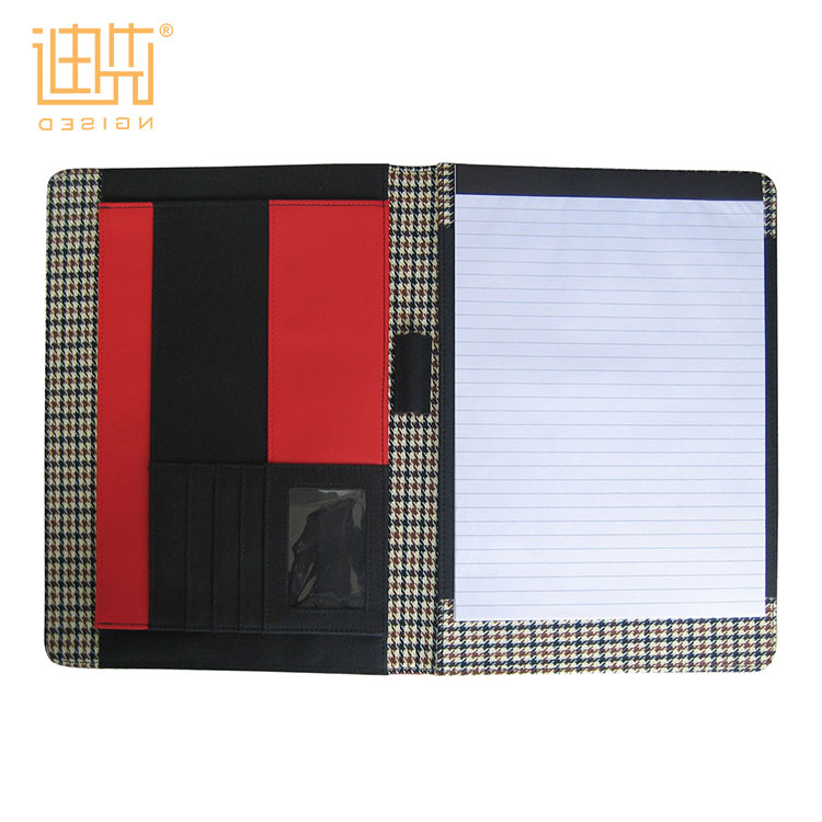 OEM Customized 양장본 Business Plaid fabric PU A4 Size 양장본 파일 폴더