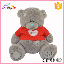 2016 Custom high quality plush teddy bear with patch and t-shirt
