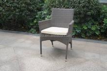 Aluminum outdoor wicker chair, garden rattan arm chair with cushion