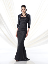 2 pieces formal long sleeve satin mother prom dress