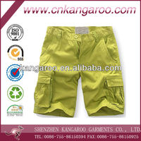 Men's 100% cotton twill washed casual shorts with cargo pocket