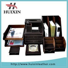 Desktop Luxury leather Stationery leather desk sets , factory desk set