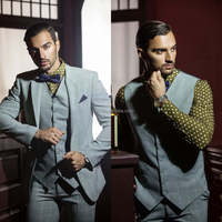 2015 Wholesale Light Green Sequare Stripe Patterns With Green Dot Shirt New Design Tuxedo Men Suit