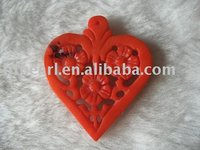 heart red flower carved natural coral pendant