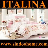 2015 new design beautiful floral print european double size 200TC twill cotton dubai bed sheet set