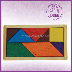 Promotion & educational jigsaw puzzle wooden tangram for kids