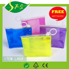 Transparent cosmetic toilet clear zipper PVC hand tote bag