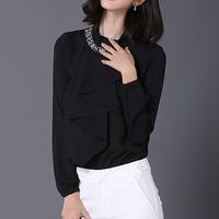 d82149f 2016 latest design formal blouse long sleeve chiffon shirt woman