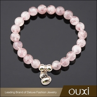 OUXI new design pink bead chinese good luck 925 silver earring bracelet T30049