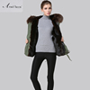 Short style new arrival brown Christian cross army green winter parka for wholesale