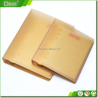 New style paper notebook luxury gold PP plastic cover A4 A5 size notebook custom school notebook with matt pp box