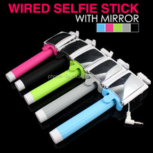 2015 Silicon Phone Holder, Cable Connection Selfie Stick with Mirror, Selphie Mirror Manopod