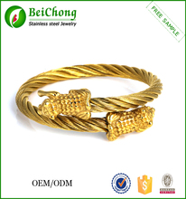 Factory price 22k gold jewelry design men's bracelet 2015 gold wire tiger head bracelet designs men
