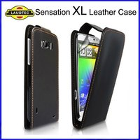 Leather Flip Case Cover For HTC Sensation XL,High Quality Brown Thread Leather Case -- Laudtec