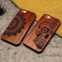 Wood Case for iPhone 6 Wooden 6Plus New Cover Natural Real Walnut Bamboo Carving Patterns Wood Slice + Plastic Edges Back Cover