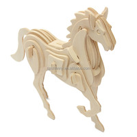 Funny 3D Jigsaw Puzzle Wooden Animal Horse For Wisdom Development Kid Children Toy Diy Handmade Gift Decorate unisex Top quality